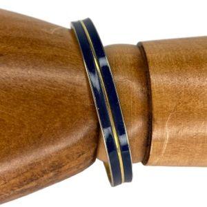 Monet Blue Enamel & Gold Tone Bangle Bracelet